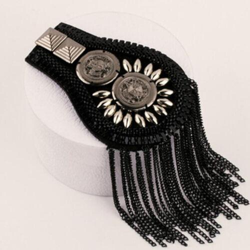Gothic Punk Acrylic Beads Epaulette Mark Chain Tassel Shoulder Board C