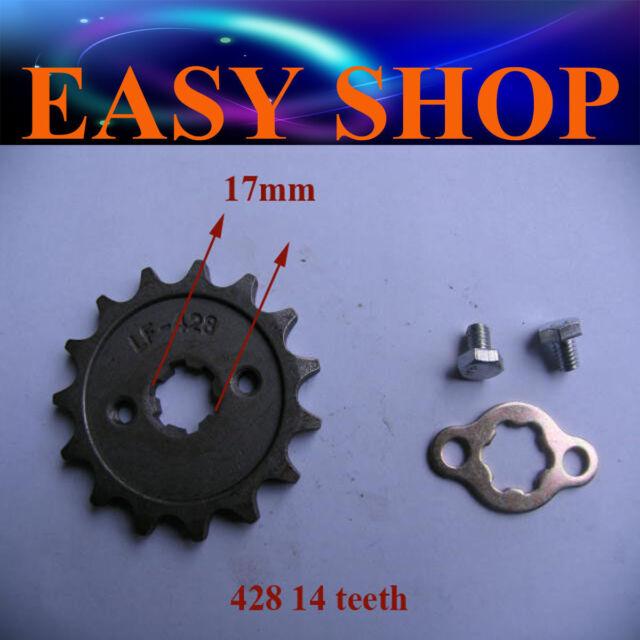 17mm 428 14T TEETH FRONT CHAIN SPROCKET 250cc 150cc 125cc ATV QUAD DIRT PIT BIKE