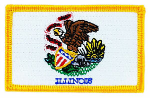 FLAG PATCH PATCHES Illinois IRON ON EMBROIDERED UNITED STATES USA STATE