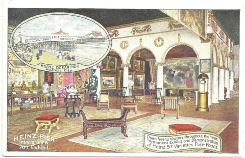 Color Postcard Heinz Pier Interior View of Art Exhibit 1917