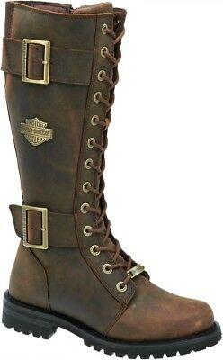 Harley Davidson® Women's Belhaven Brown Tall Leather Motorcycle Boots D87083 | eBay