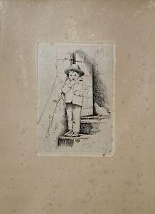 Radierung Carl Bloch 1834-1890 Junge auf einer Treppe 24,5 x 17,5 Portrait Huhn