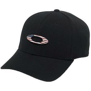 617b4b80d Details about Oakley Men Tincan Hat American Flag Metal Ellipse Logo Cap  Curved Brim Black S/M