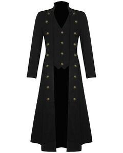 9e48ada6d2ce4 Men s Steampunk Military TRENCH COAT Long Jacket Black Gothic VTG ...