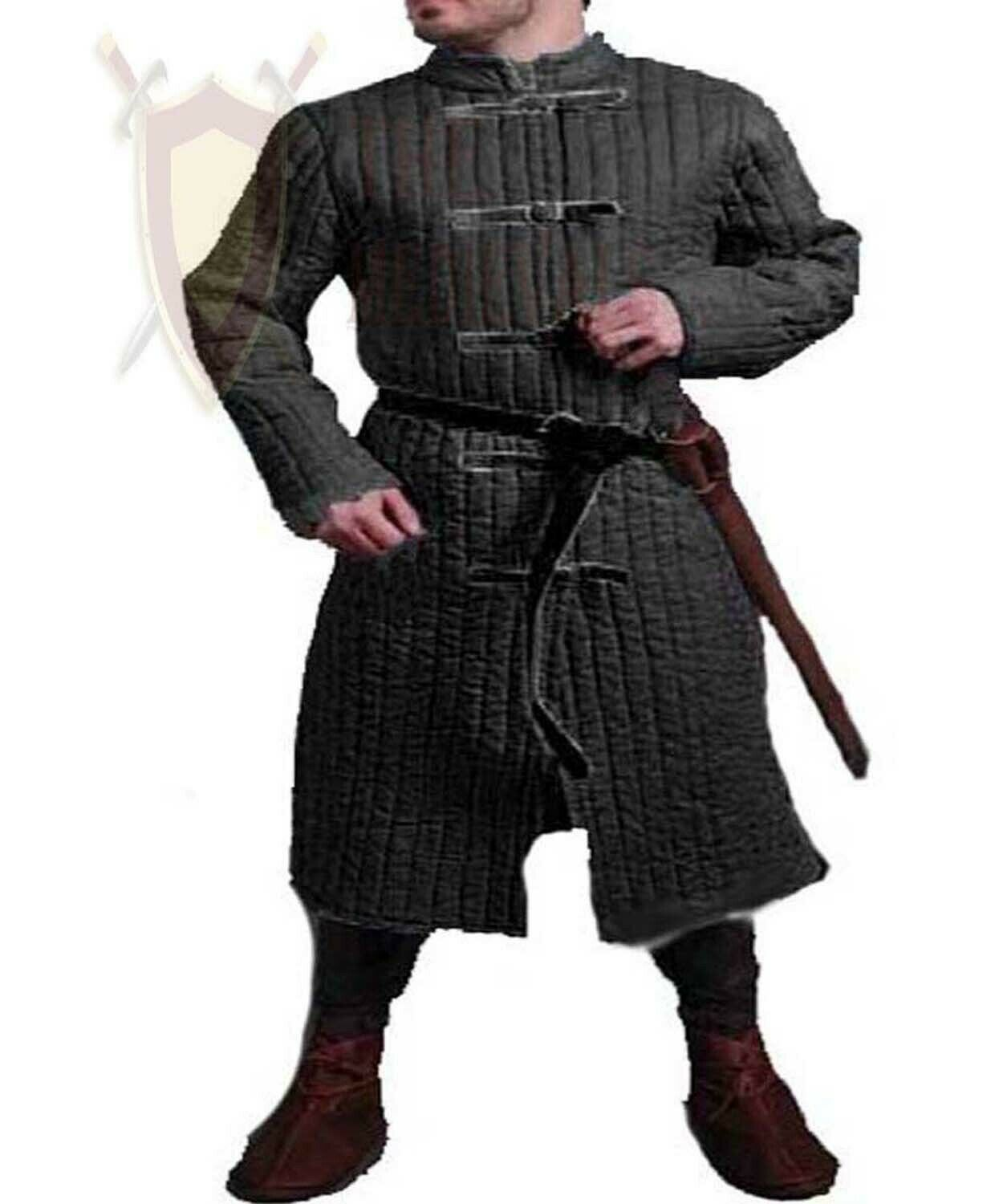 THE MEDIEVALS Gambeson Full Length Jacket Thick Padded Coat Aketon Armor Costume