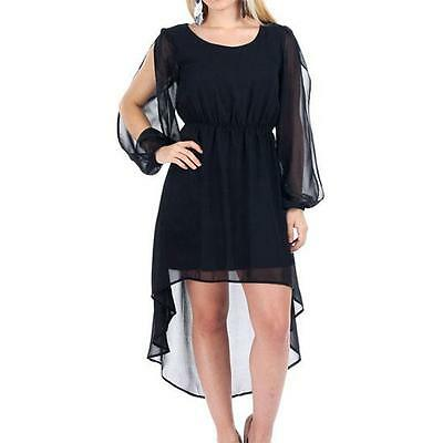 8008-11 - 1X 2X 3X Plus Size Slit Split Sleeves High Hi Low Chiffon Dress Black