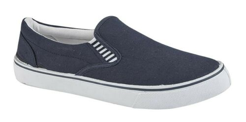 Boys Summer Canvas Casual Yachting Slip On Navy Blue Shoes Older Boys Size 4 5 6