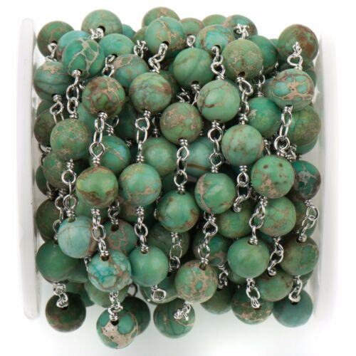silver 3ft Green AQUA TERRA JASPER Gemstone Rosary Chain 6mm round fch0734a