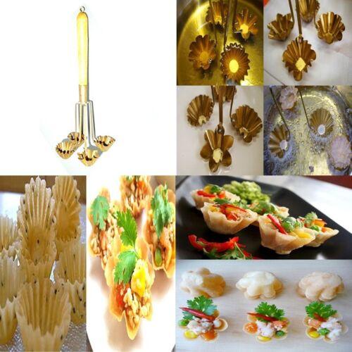 Traditionnel Thaï lanternes String Moule laiton cuisine 4 Fleurs Tasse Manche en bois!