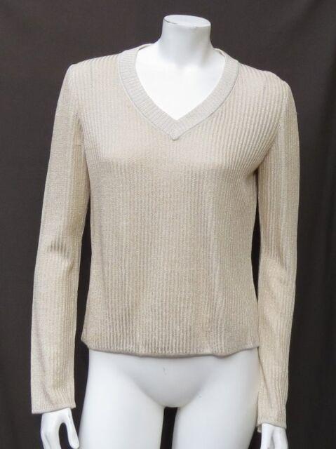 2a21eefbf9e5b4 ST JOHN USA White Gold Sparkle Novelty Rib Knit V Neck Sweater Top sz P fits