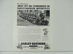 Details about 1950's Harley-Davidson Police Jersey City Servi-Car  Advertisement L4180