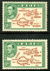 Fiji-KGVI-1938-2d-Brown-Green-Die-I-amp-II-SG253-254-Mint-Lightly-Hinged-MLH