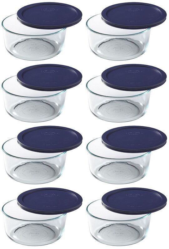 (8) ea Pyrex 6017397 7 Cup Round Glass Food Storage Containers