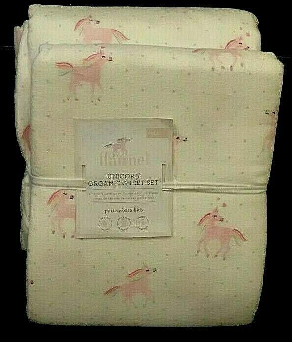 POTTERY BARN Kids Unicorn Rainbow Organic Flanelle Queen Sheet Set Rose