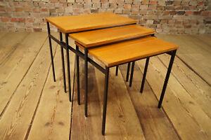 60s-3x-Side-Table-Teak-Coffee-Side-Nesting-Tables-Mid-Century-Hvidt-Juhl-Era