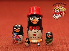 "Russian nesting doll.Set of5 Matryoshka ""Penguins"" .Handmade in Russia.%ММ-8"