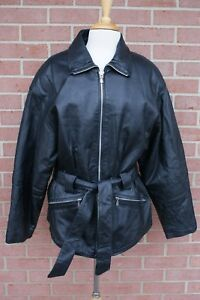 New-York-by-Winlit-Jacket-Womens-Leather-Belted-Lined-Black-Zip-Up-Coat-Size-L