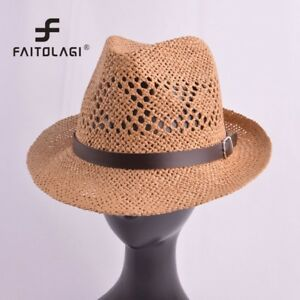30c25567947 Men Hollow Straw Fedora Hat Panama Mesh Jazz Cap Male Summer Beach ...