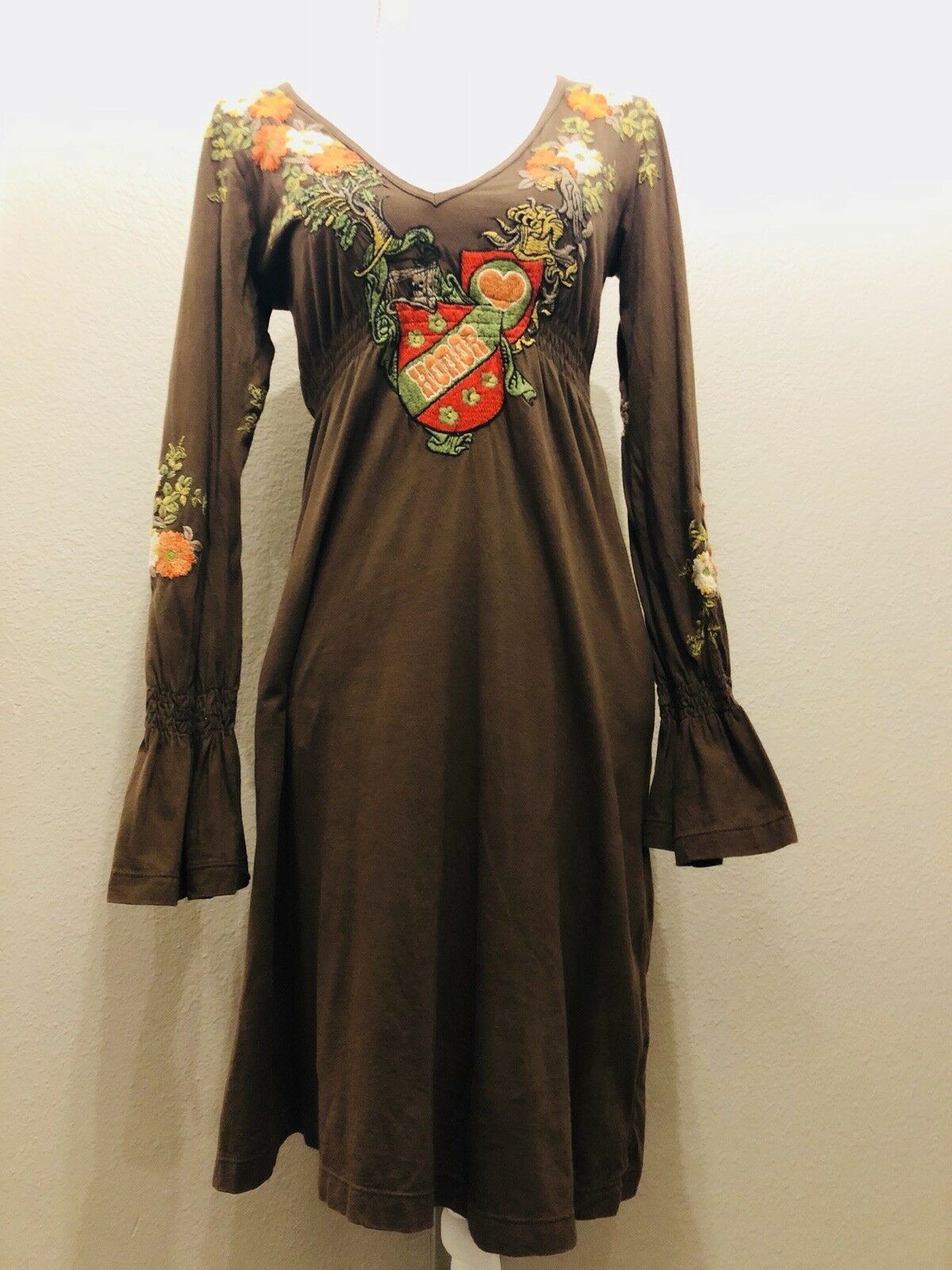 """727fbb946f13 Dress Long Sleeve Embroidery Bell Cuffs Brown Size """"Honor"""" JWLA S ..."""