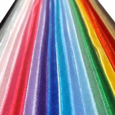 """Quality 10mm 3//8/"""" By The Metre /& Full Rolls Velvet Ribbon Single Sided Soft"""