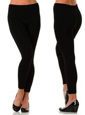 Women's Fleece Lined Warm Thick Seamless FOOTLESS LEGGING ONE SIZE SK BLACK