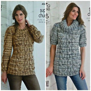 Ladies Knitting Pattern Long Sleeve Jumper Cowl Neck Cable Top Super