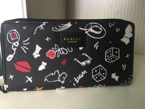 Radley /'Sugar and Spice/' black oilskin zip around purse