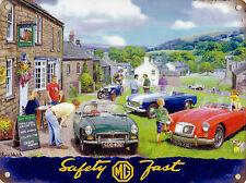 "New small 15x20cm MG car vintage enamel style tin metal advertising sign 8x6"""