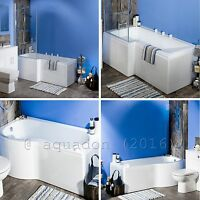 Modern L And P Bath Shape Shower With Screen & Front Panel