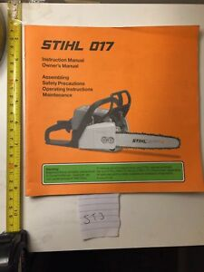 Stihl 17 Chainsaw Instruction Owners Manual Original Ebay