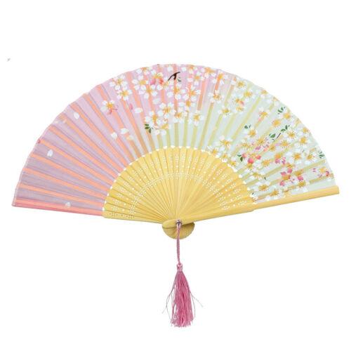 Fashion Japanese Style Sweet Flower Pattern Folding Lovely Wooden Hand Fan SZ