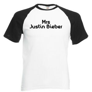 Mrs-Justin-Bieber-White-with-Black-Baseball-T-Shirt-Belieber-baby-never-say-one