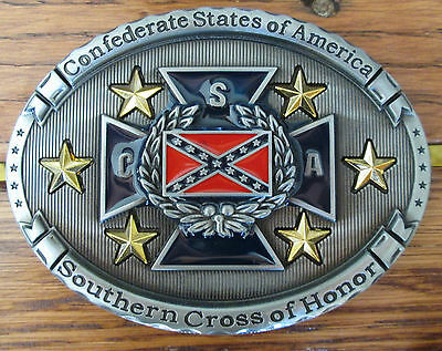 CSA Rebel Confederate Belt Buckle Southern Cross of Honor Biker