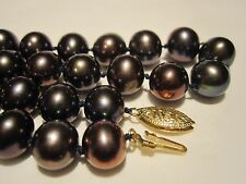 VINTAGE 14K GOLD AAA QUALITY GENUINE TAHITIAN BLACK 9 mm PEARL NECKLACE ESTATE