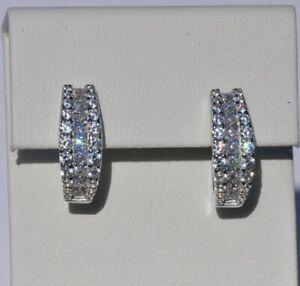 Echt-925-Sterling-Silber-Ohrringe-Creolen-mit-Zirkonia-Hochzeit-Nr-250F