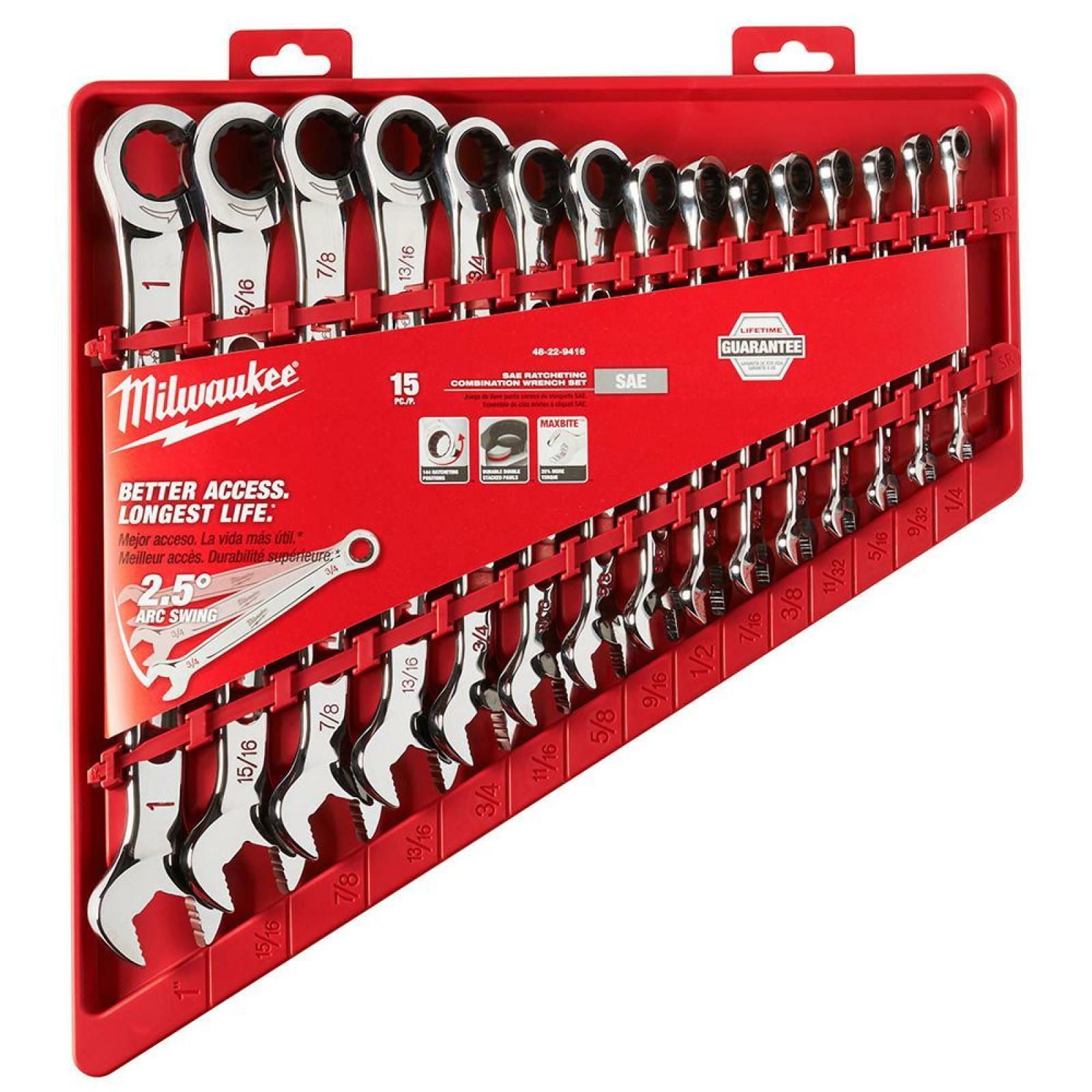 Milwaukee Ratchet Wrench Set Beam Handle Ink Filled Größe Open End Grip 15 Pc