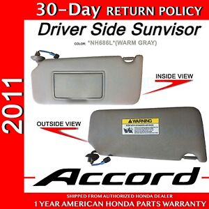 2011 Honda ACCORD Genuine Factory OEM Warm Gray Driver SunVisor ... 216c31ea425