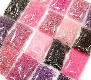 400g-Rocailles-Perlenset-Rosa-Lila-Pink-2-3-4-6mm-Rund-Stift-Mix-Glasperlen-AM23