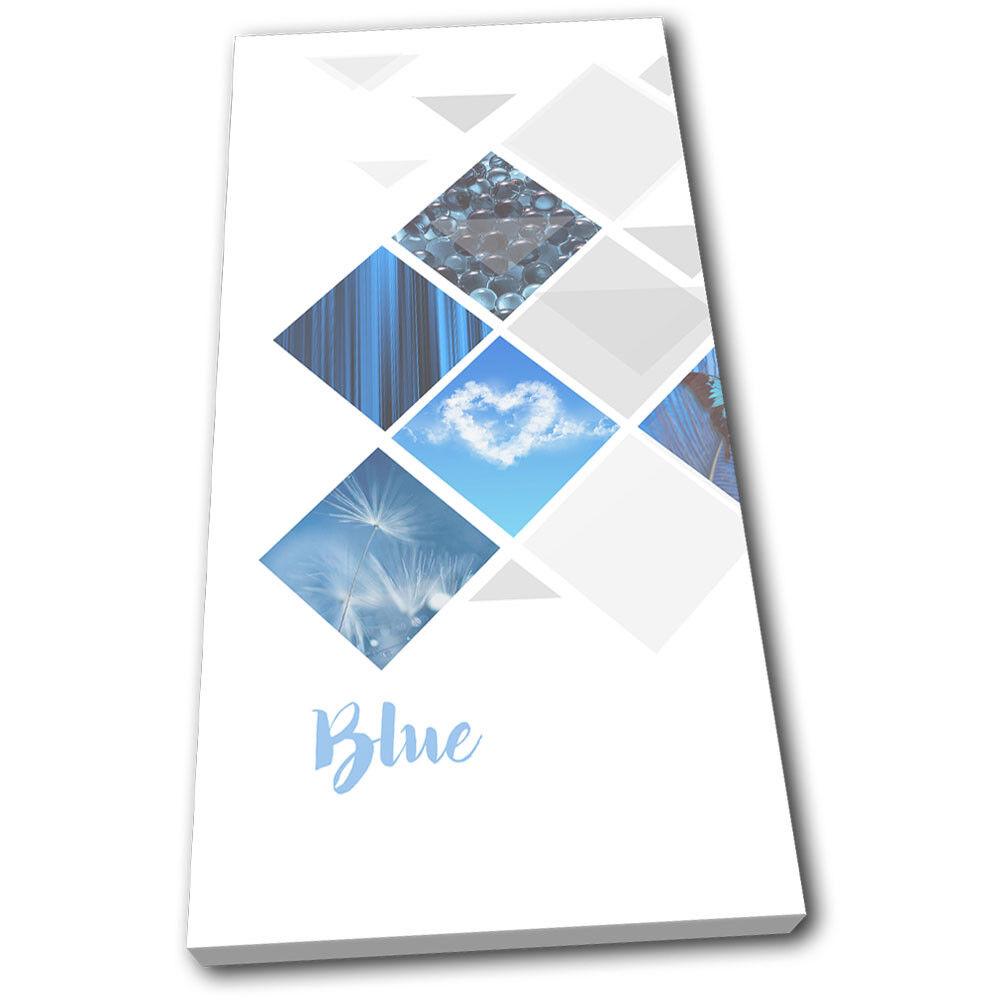 Geo bleu Butterfly Sky Pebbles Abstract SINGLE TOILE murale ART Photo Print