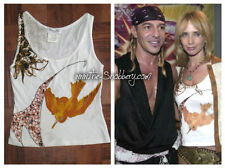 S Christian Dior Safari Boho Tribal Couture Giraffe Bird Tank Top Shirt Tee RARE