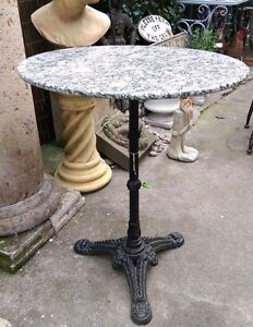 Image Is Loading Marble Top Round Bistro Table With Cast Iron