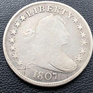 1807 Draped Bust Half Dollar 50c Circulated Rare Early Coin #27465