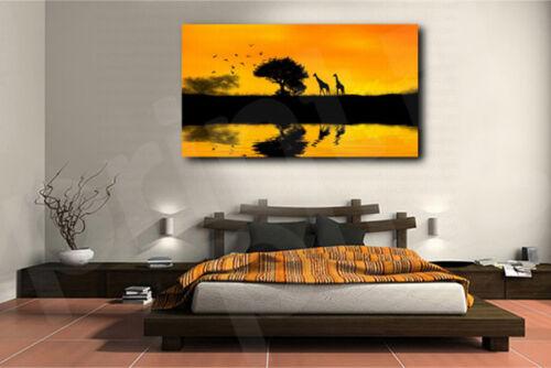 Sunset Africa Nature Giraffes Art Canvas Poster Print Home Wall Decor