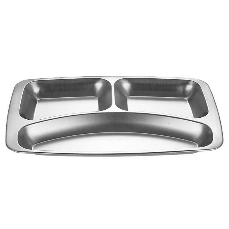 Stainless Steel Divided Dinner Tray Lunch Container Food Plate 3//4//5 Sections