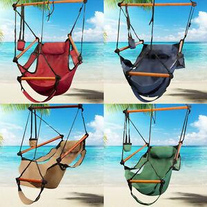 image is loading deluxe hanging rope hammock chair air swing sky  deluxe hanging rope hammock chair air swing sky outdoor yard      rh   ebay