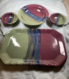 Neher 2014 Pottery Dish Serving Ware Purple Green Blue