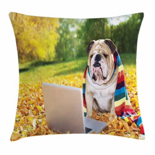 Dog Throw Pillow Cases Cushion Covers by Ambesonne Home Accent Decor 8 Sizes