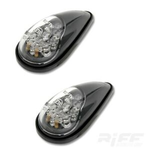 LED Verkleidungs Blinker Tropfen universal schwarz klar Glas Motorrad Bike
