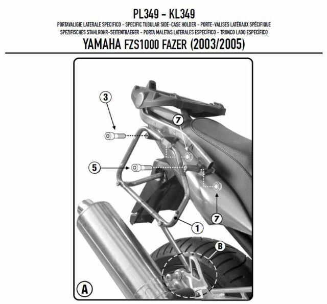 PL349 Givi Portaequipaje Lateral Monokey para Yamaha FZS 1000Fazer 2003 2004
