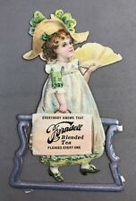 c1900 Ferndell TEA Die Cut Victorian Girl Trade Card ANTIQUE Original Advertisng